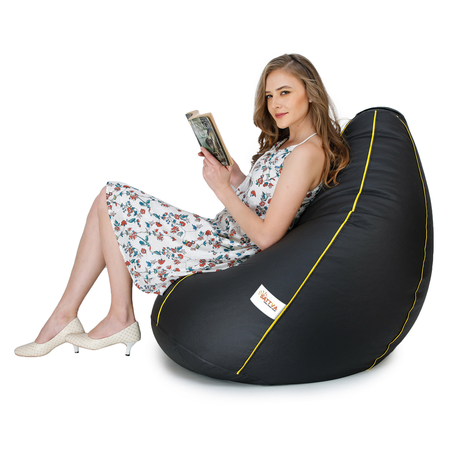 Sattva Classic XL Bean Bag Filled (with Beans) - Black With Yellow Piping