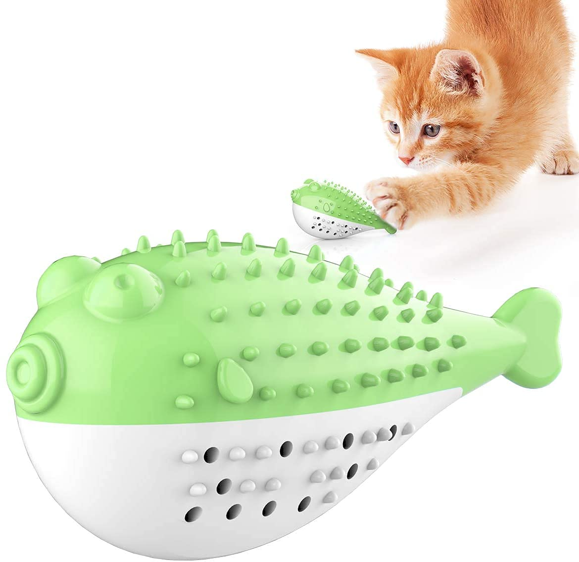 Pets Empire Playing Feeding Toy With Bell For Kitten Kitty Cats Teeth Cleaning,Puffer Fish Shape Pet Toy,Cat Toothbrush Catnip Toy,Cat Interactive Toy