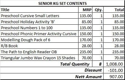 SENIOR KG SET FOR IES ORION & IES MVM