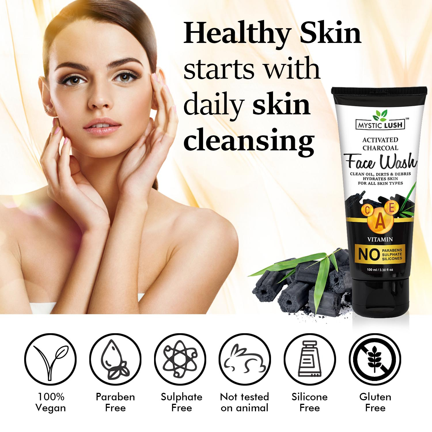 Mystic Lush Activated Charcoal Face Wash With Vitamin A,C,E & Aloe Vera For Oil Control, Pollution Defense And Clog Pores (No Paraben, Sulphate & Sili
