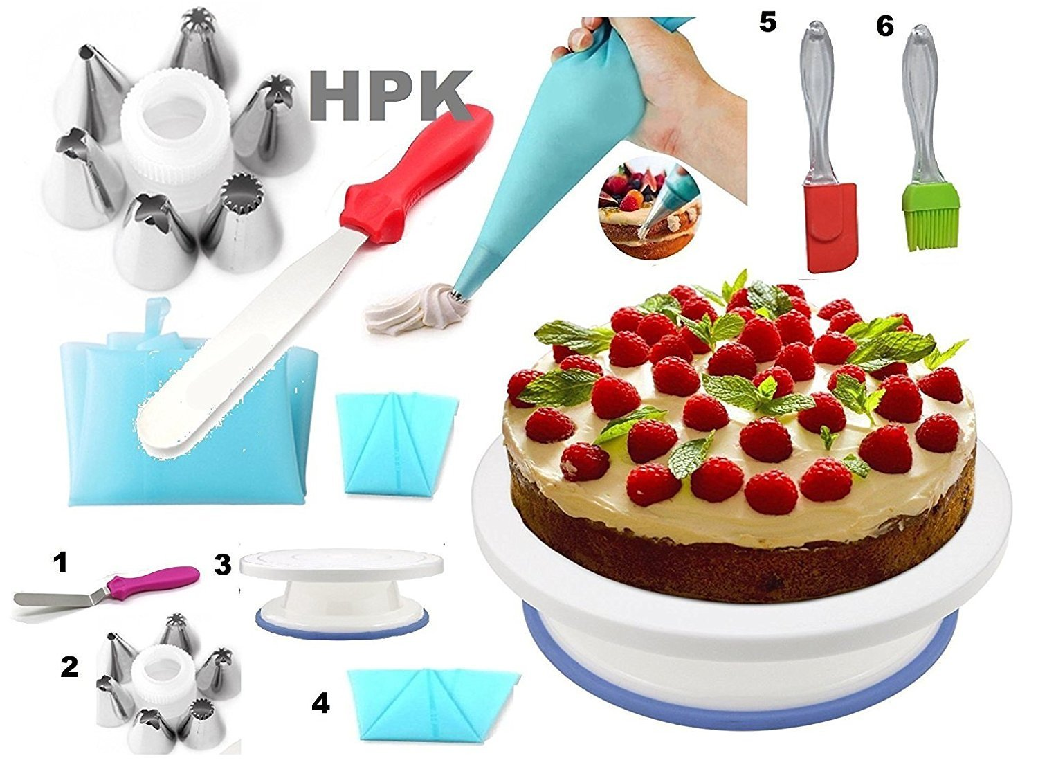Cake Decoration Tools Set Turn Full Rotating Round Table With Accessories Tools