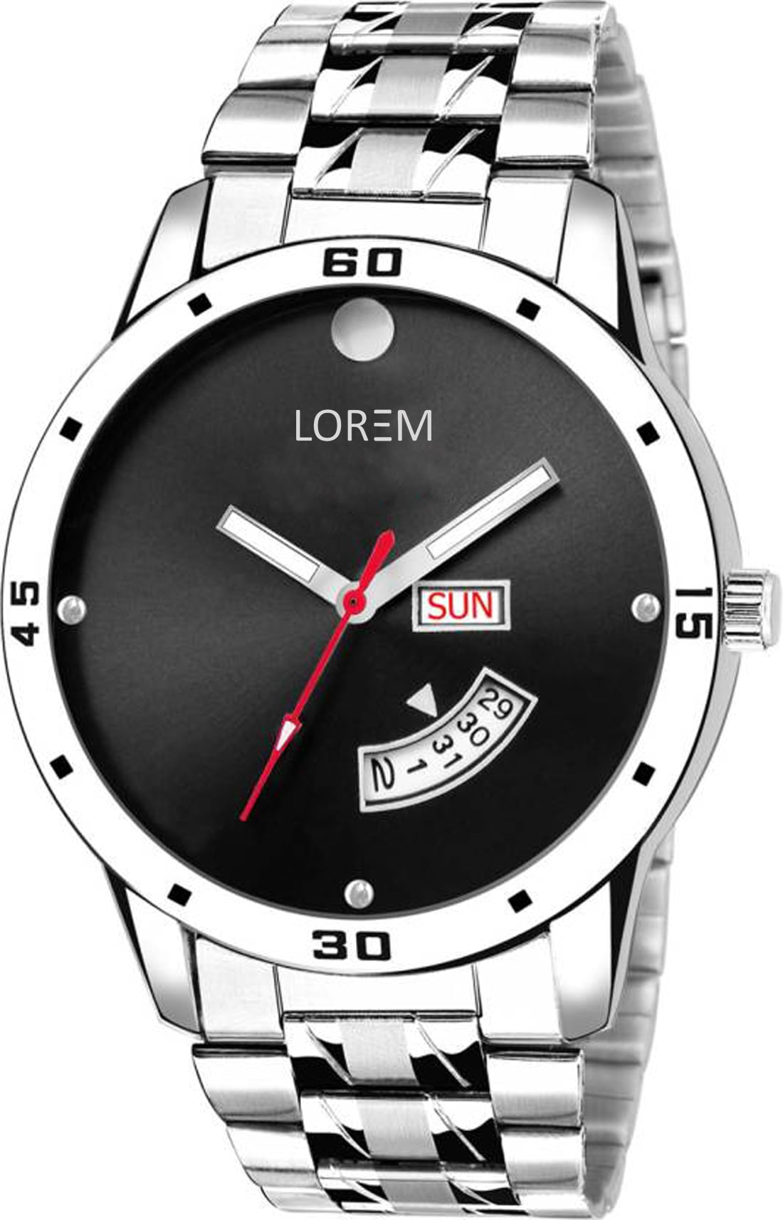 LOREM Watches For Mens Stylish Stainless Steel Belt Black Dial Day And Date Indicator Official Look Watch