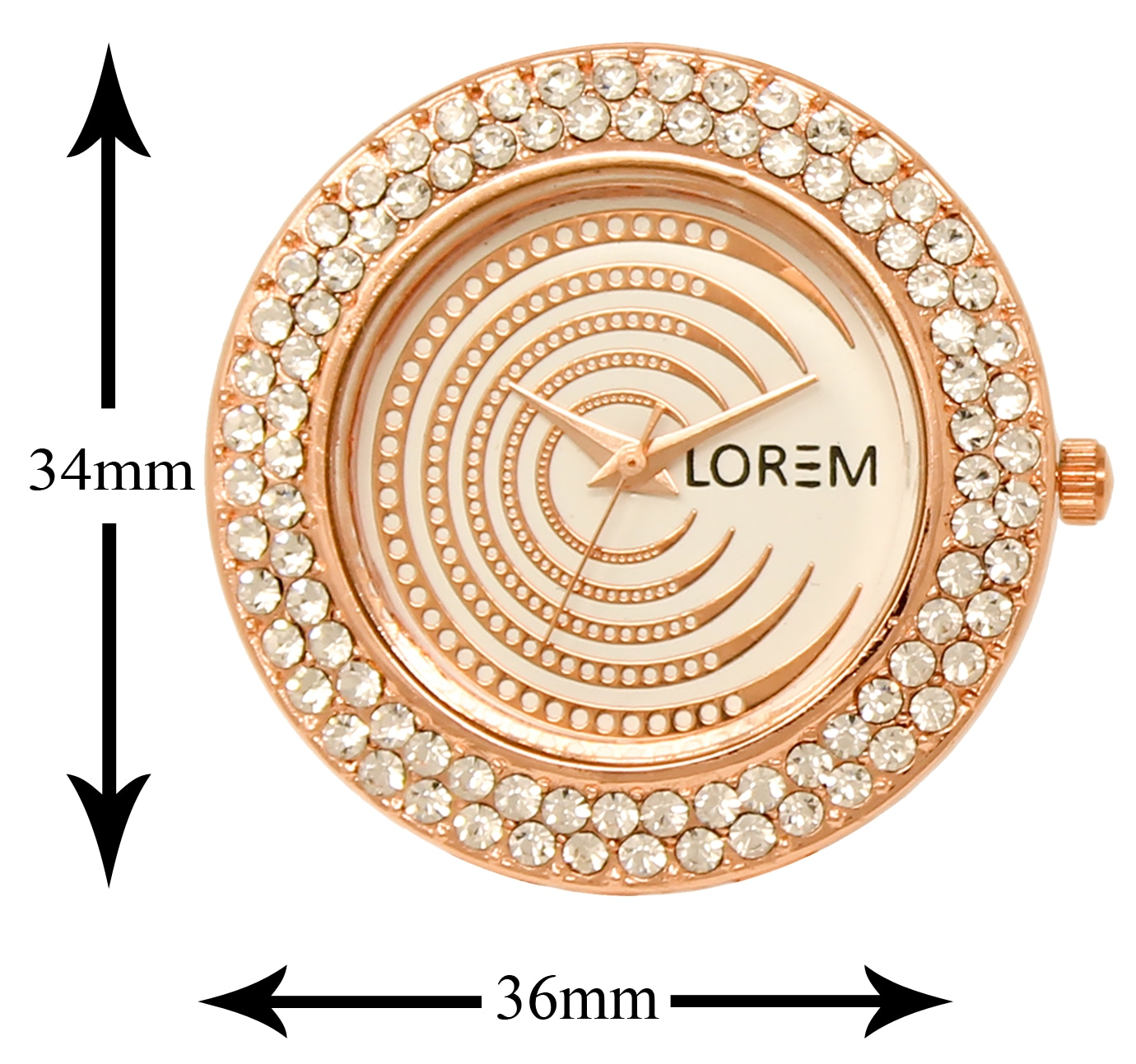 Lorem Watches For Women's Stylish Diamond Decorated Rose Gold Dial Stainless Steel Belt Luxurious Watch