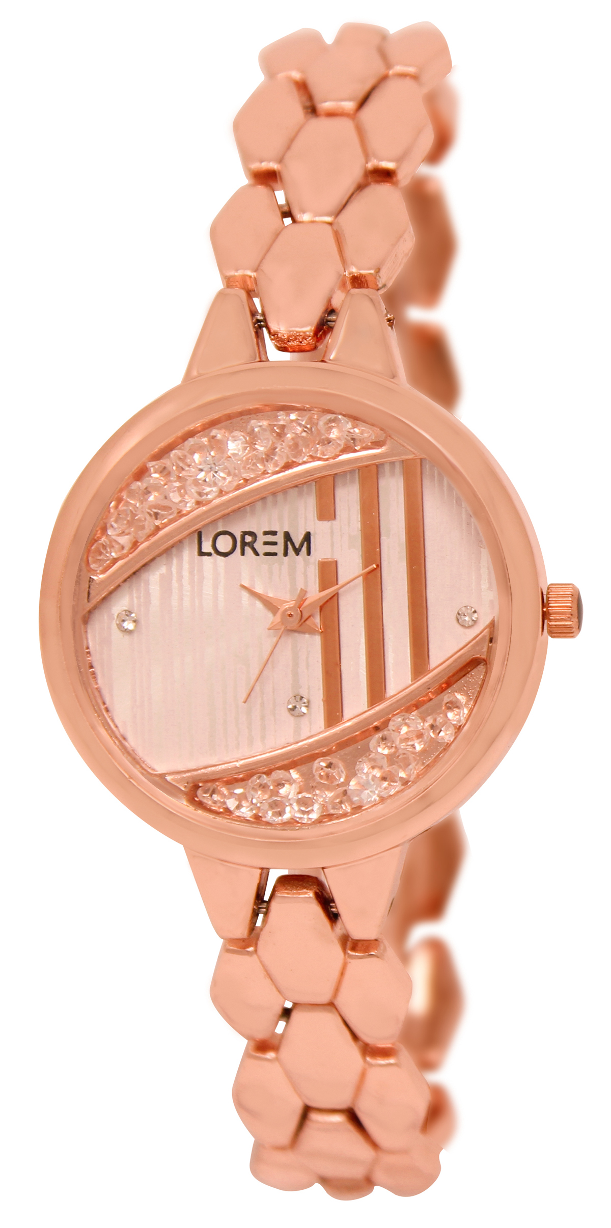 Lorem Analogue Rosegold Dial Rosegold Strape Fashion Wrist Watch For Women