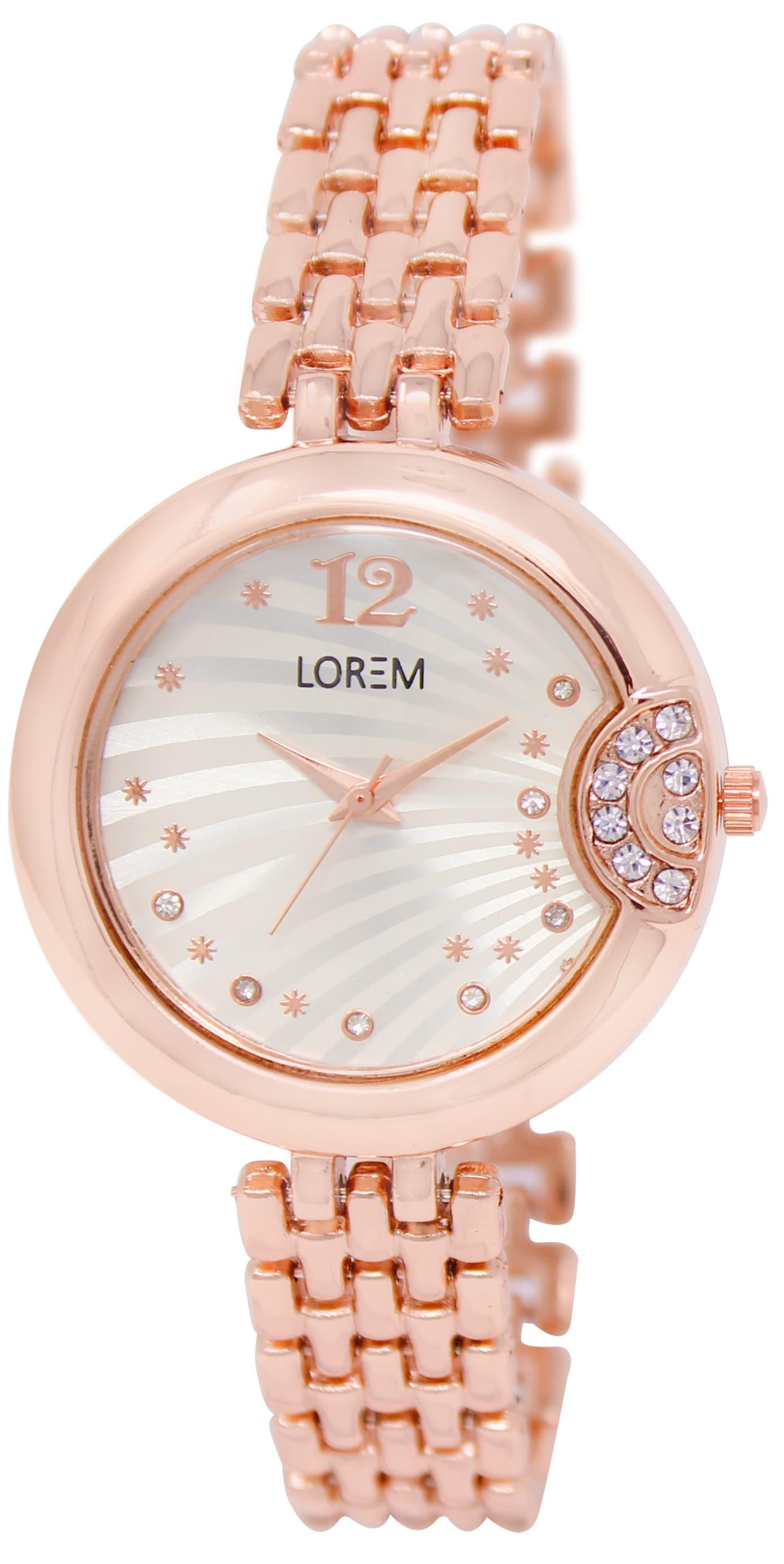 LOREM New Arrival White Round Girl's Metal Bracelet Watch - For Women & Girls