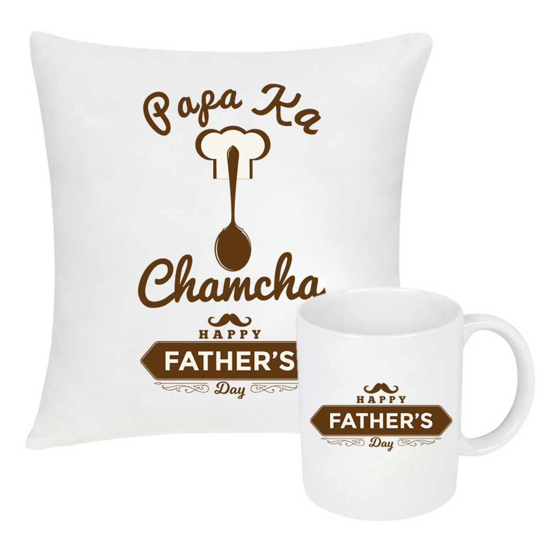 Sattva Combo Premium Printed Cushion Cover With Filler 16 X16 Inches & Ceramic Mug 350 ML EVSCOCM025 For Father's Day