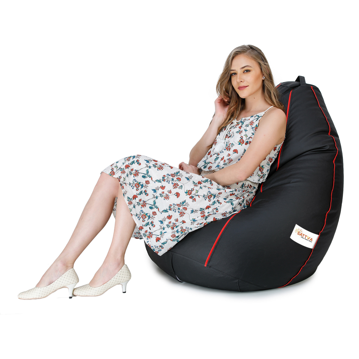 Sattva Classic XXL Bean Bag Filled (with Beans) - Black With Red Piping
