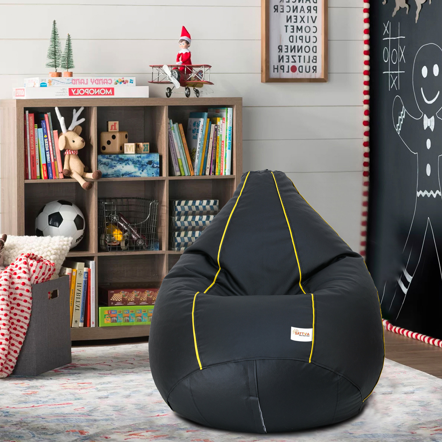 Sattva Classic XXXL Bean Bag Filled (with Beans) Colour - Black With Yellow Piping