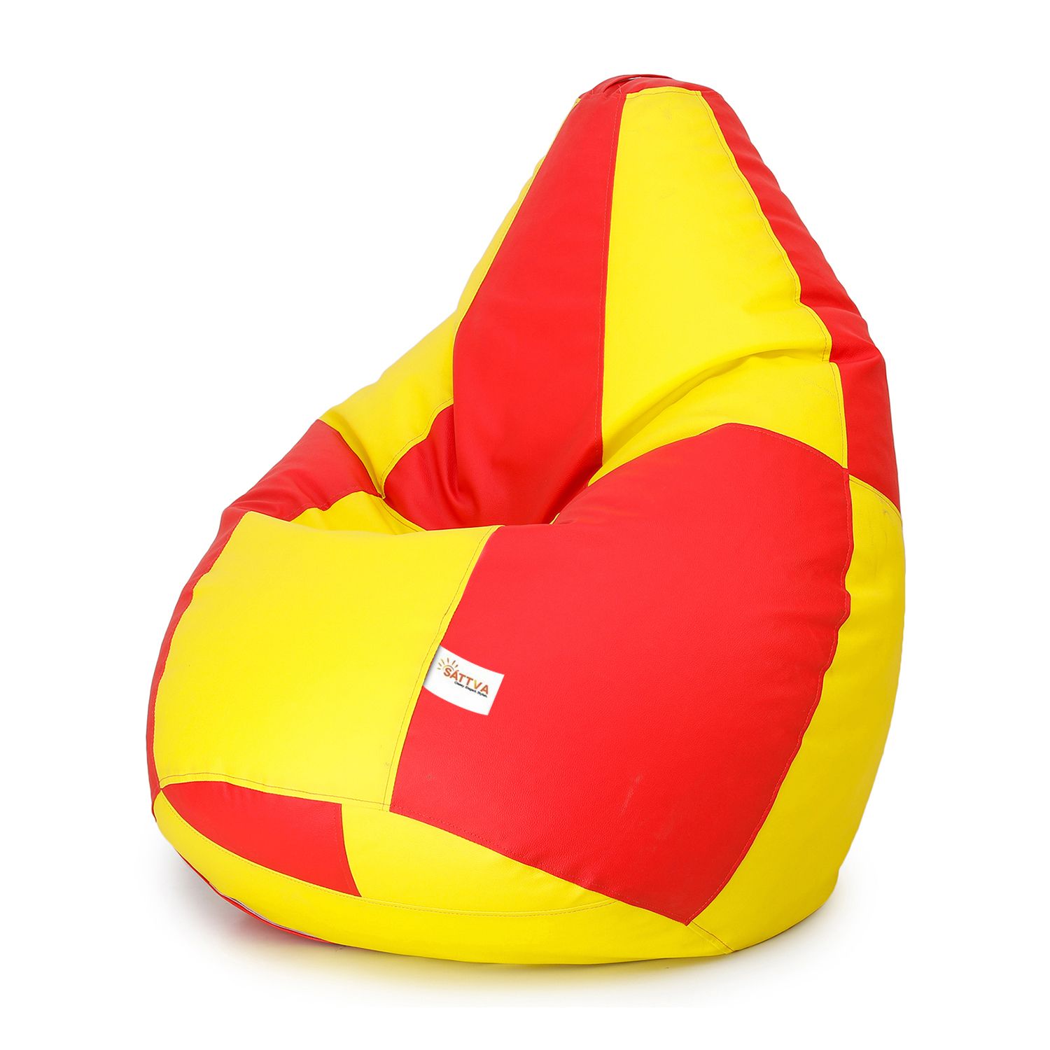 Sattva Classic XXL Bean Bag Filled (with Beans) Colour - Red Yellow Check