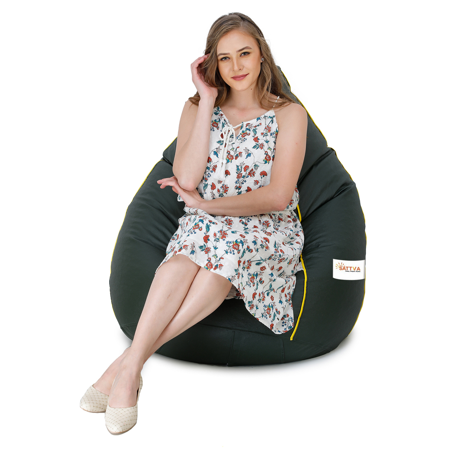 Sattva Classic XXL Bean Bag Filled (with Beans) Colour - Dark Green With Yellow Piping