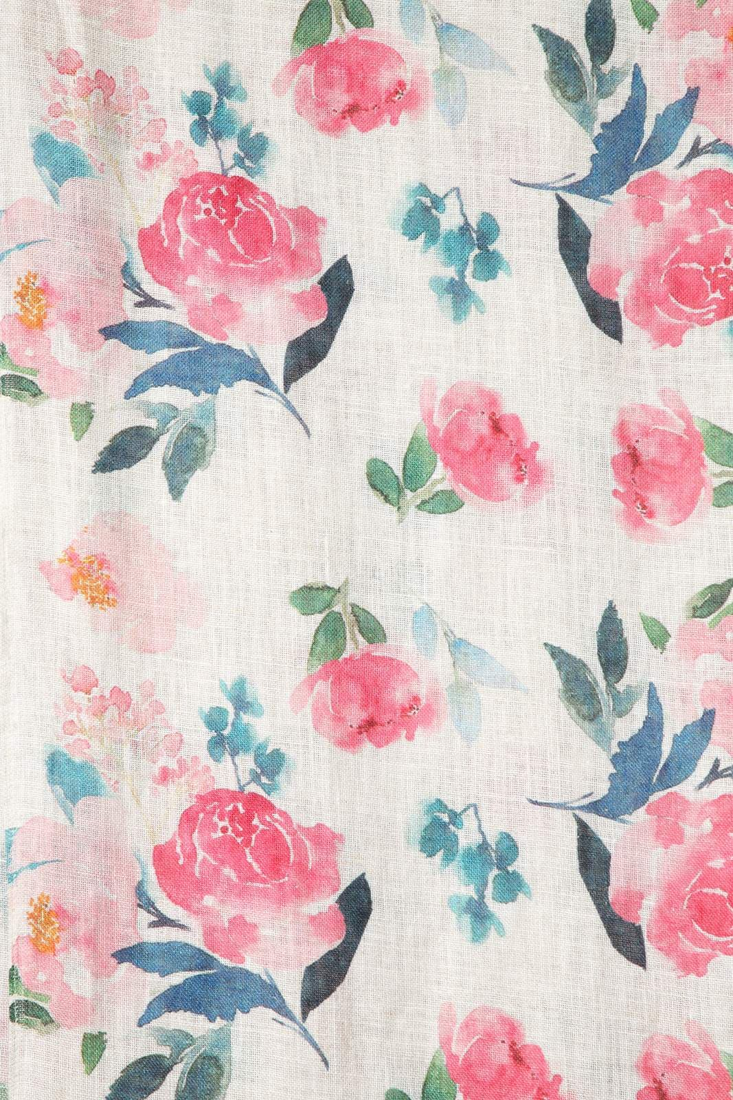 SCF 7713BF Pink Foral Printed Linen Scarf With Frayed Edges One Size - Pink (One Size,Pink)