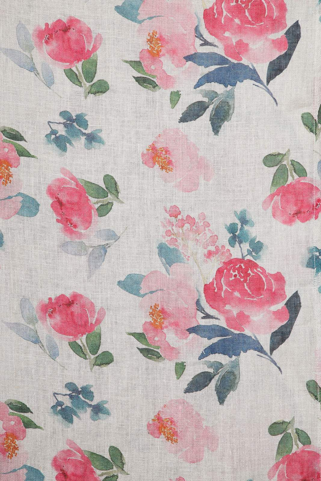 ST 907713S Pink Floral Printed Linen Stole One Size - Pink (One Size,Pink)