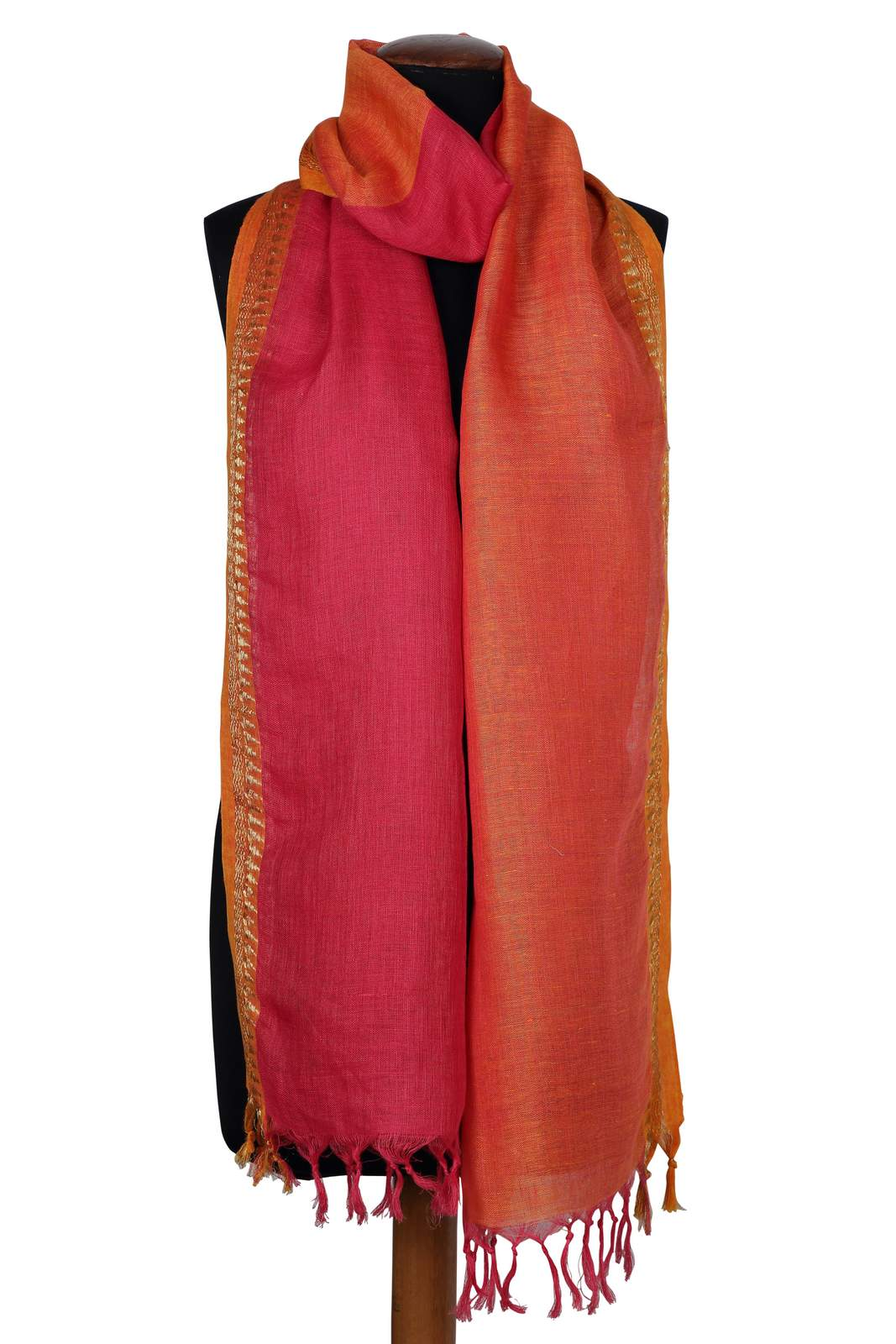 SCF Pink And Orange Dual Linen Scarf With Lurex Border One Size - Pink And Orange (One Size,Pink and Orange)