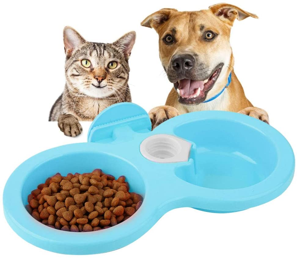 Pets Empire Pet Feeding Double Bowl Feeder Hanging Cat Dog Puppy Small Animal Food Dish Water Dinner Feeder Cage Bowl -200ML,Pack Of 1 (BLUE)
