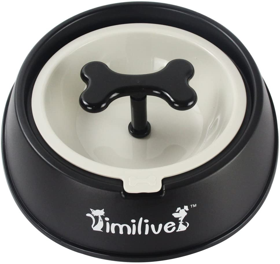 Pets Empire Dog Slow Feeder Bowl With Bone Shape Rotating Hinder Anti-Choke Pets Bowl Dogs Water Food Feeding Bowl Size-650 Ml,pack Of 1 (Black)