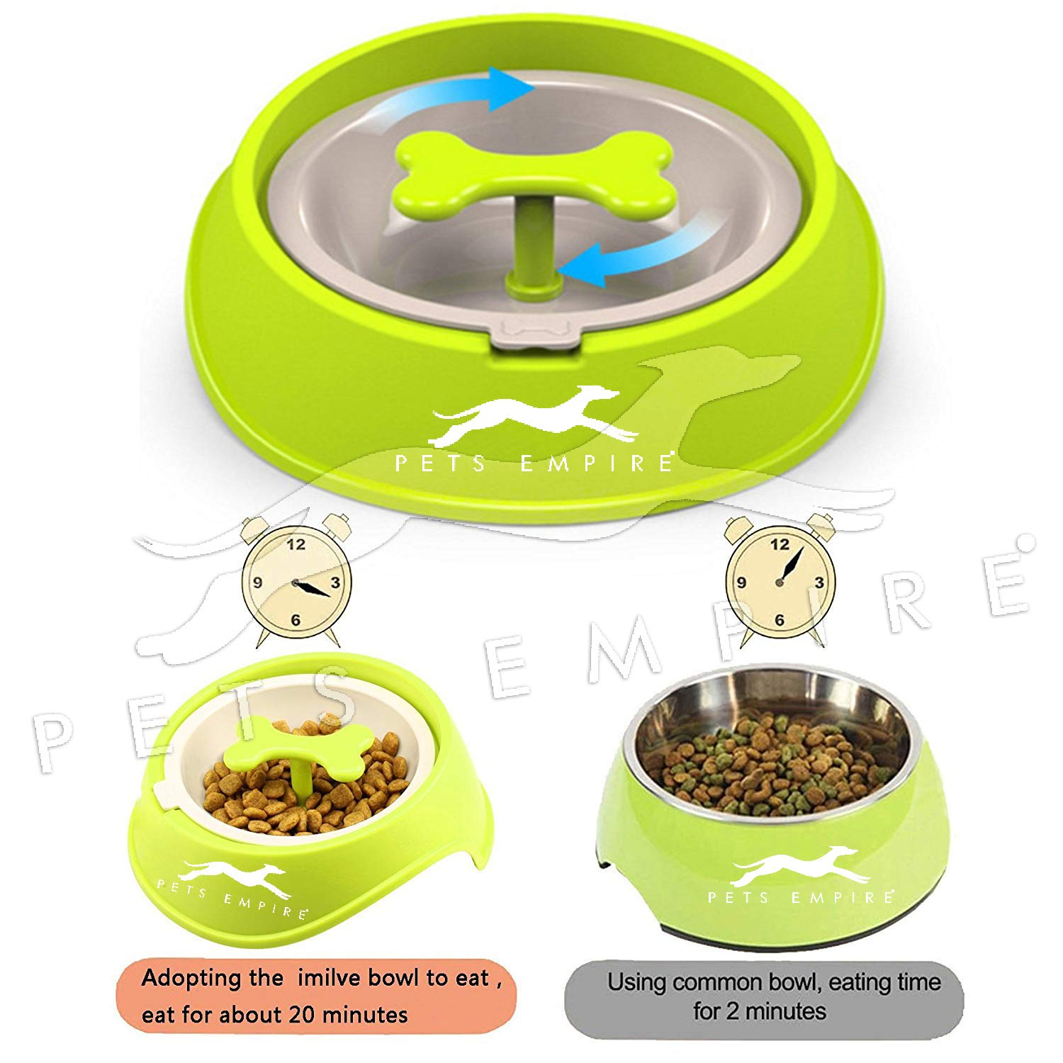 Pets Empire Dog Slow Feeder Bowl Pet Cat Bone Shaped Food Bowls Training Water Dishes 1 Piece (RED)