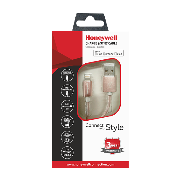HONEYWELL IPHONE CABLE (BRAIDED)PINK