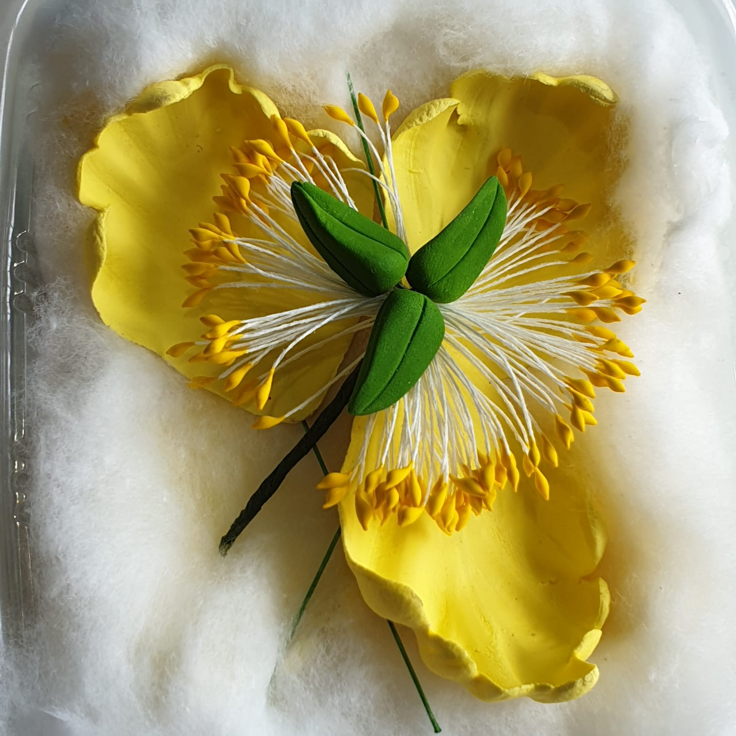 Wired Sugar Flower Open Peony Yellow Colour Sugarcraft