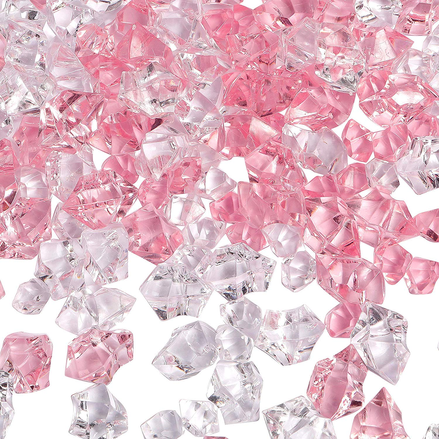 Acrylic Decorative Glass Pebbles (Pink Clear)