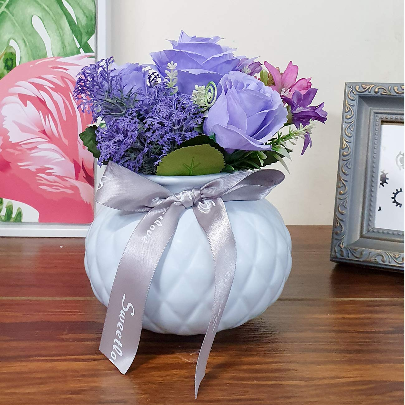 Artificial Flowers/Plants/Multi Tulip Flower In Ceramic Pot/Planter For Home, Garden Decor Decoration Gift Gifting - Purple