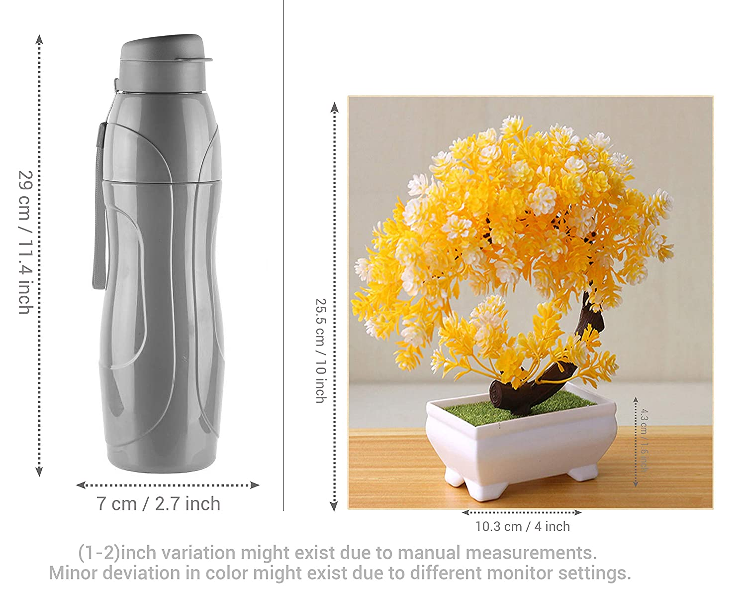 Decorative Artificial Flowers With White Pot For Office Table Living Room Indoor Home Decorative Item (Pack Of 1, 10.3 Cm X 25.5 Cm X 4.3 Cm)