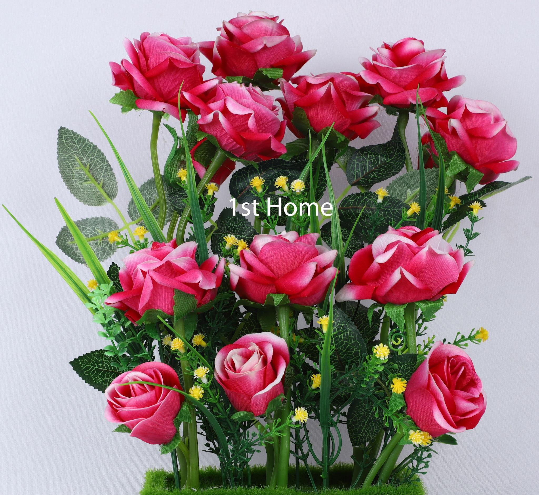 Artificial Pink Bud Rose Flower Arrangement NS1328