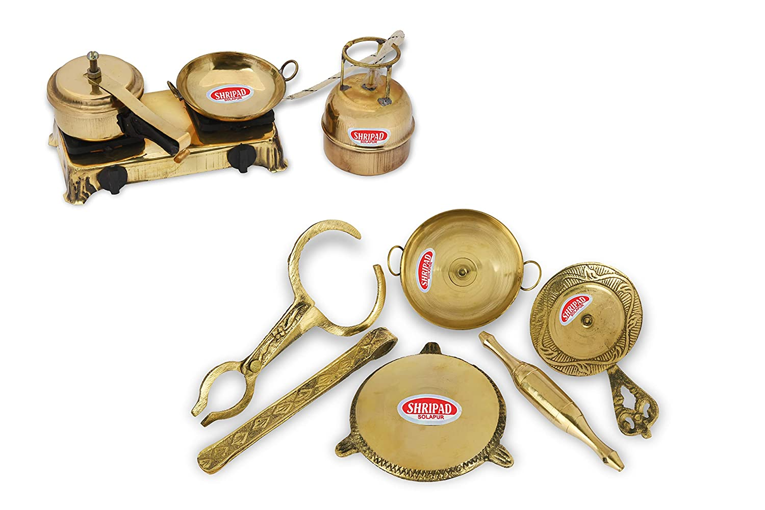 TINY SOULS Brass Miniature Toy | Gas Stove +Roti Maker | A Combo Set For Kids (Free Size)
