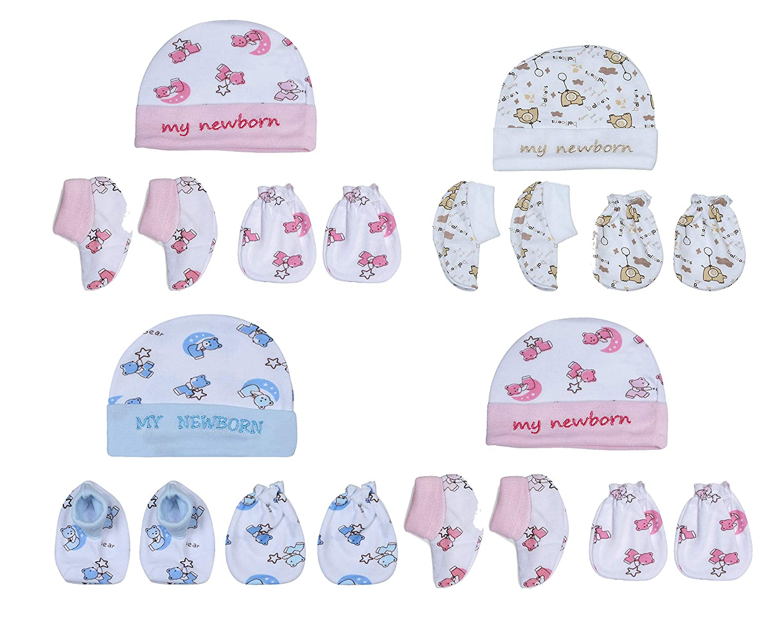 TINY SOULS Unisex New Born Baby's Cap Set | Pack Of 4 With 4 Assorted Colours | Cozy Winter Wear | Design May Vary (Free Size)