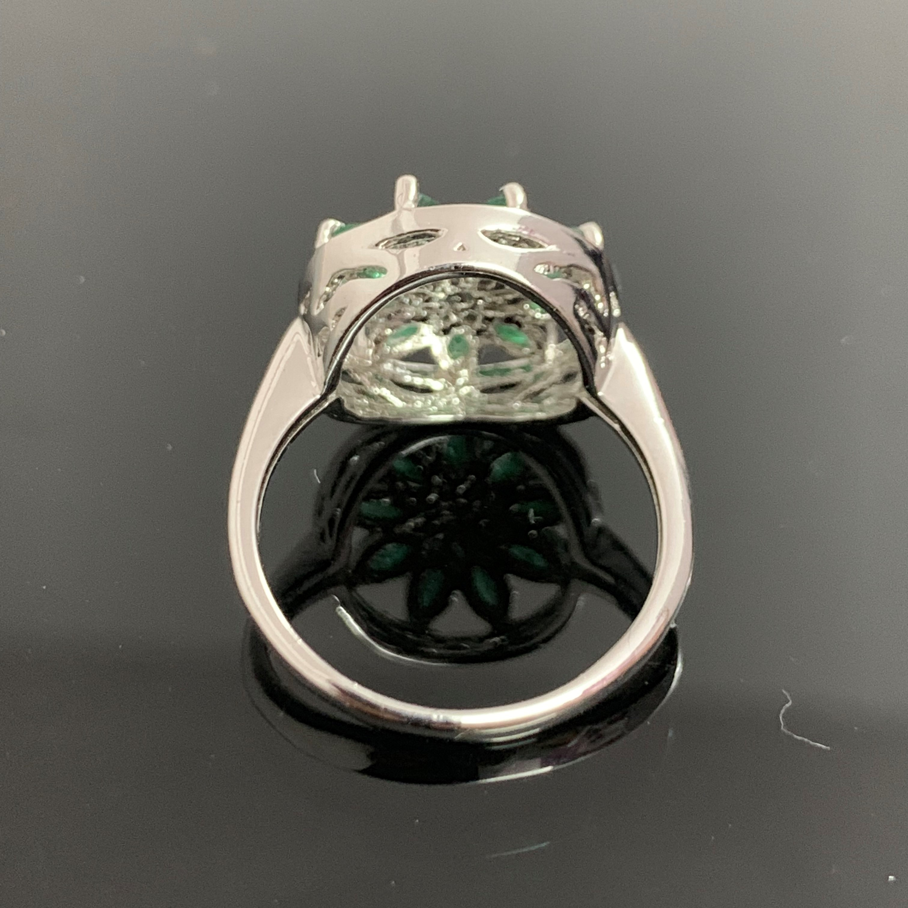 Emerald Sterling Silver 925 Ring Marquise Shape