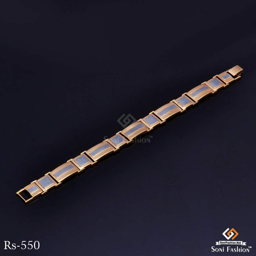 Rectangle With Diamond Line And Square Design Golden Bracelet