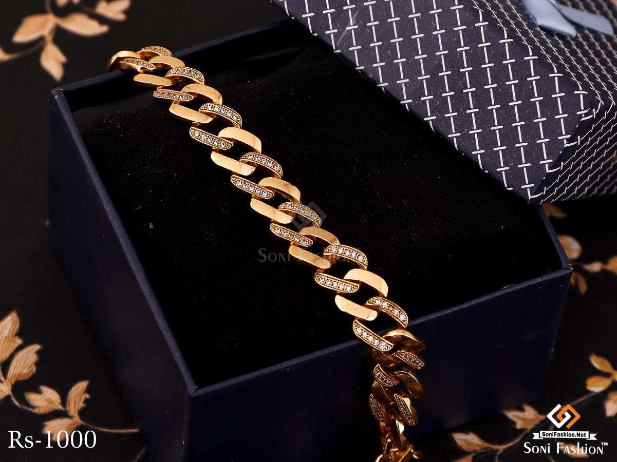 Curved Square With Diamond Golden Bracelet