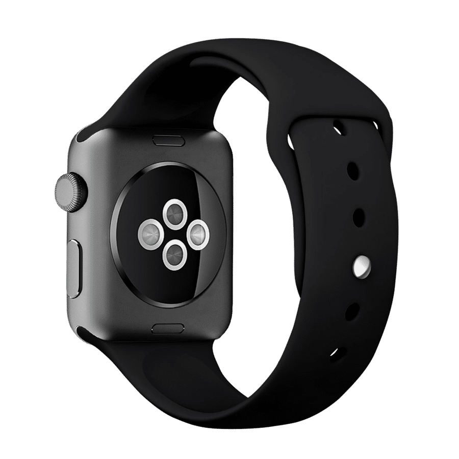 Premium Silicon 42mm Straps/Loops For Apple IWatch Series 3/4/SE (Black)