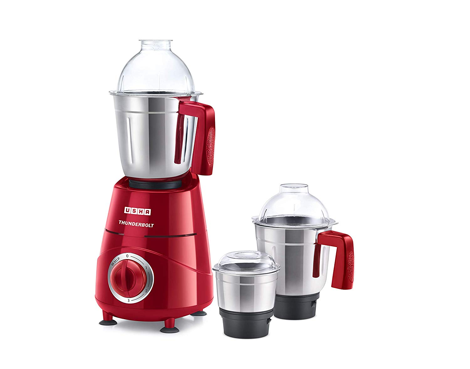 Usha Thunderbolt Mixer Grinder 800-Watt 3 Jars With Copper Motor(Red)
