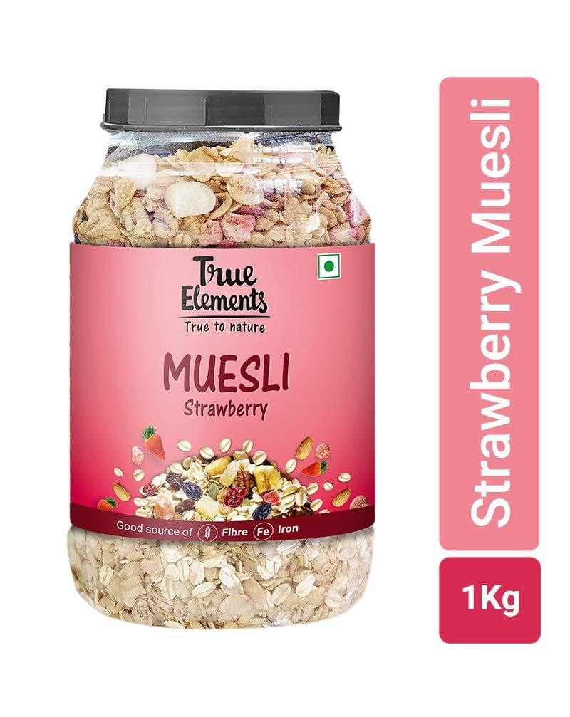 True Elements Strawberry Muesli 1kg - Rich In Fibre And Iron