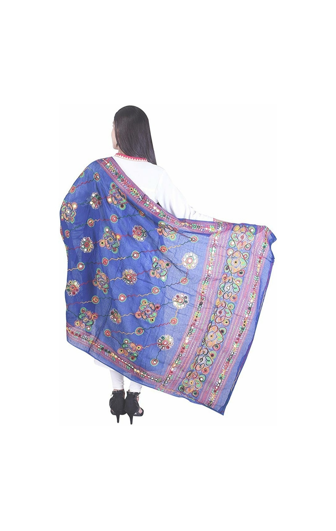 Samridhi Collections Women's Cotton Banjara Embroidered Kutchi Dupatta Chakachak Handicraft Dupatta (Blue)