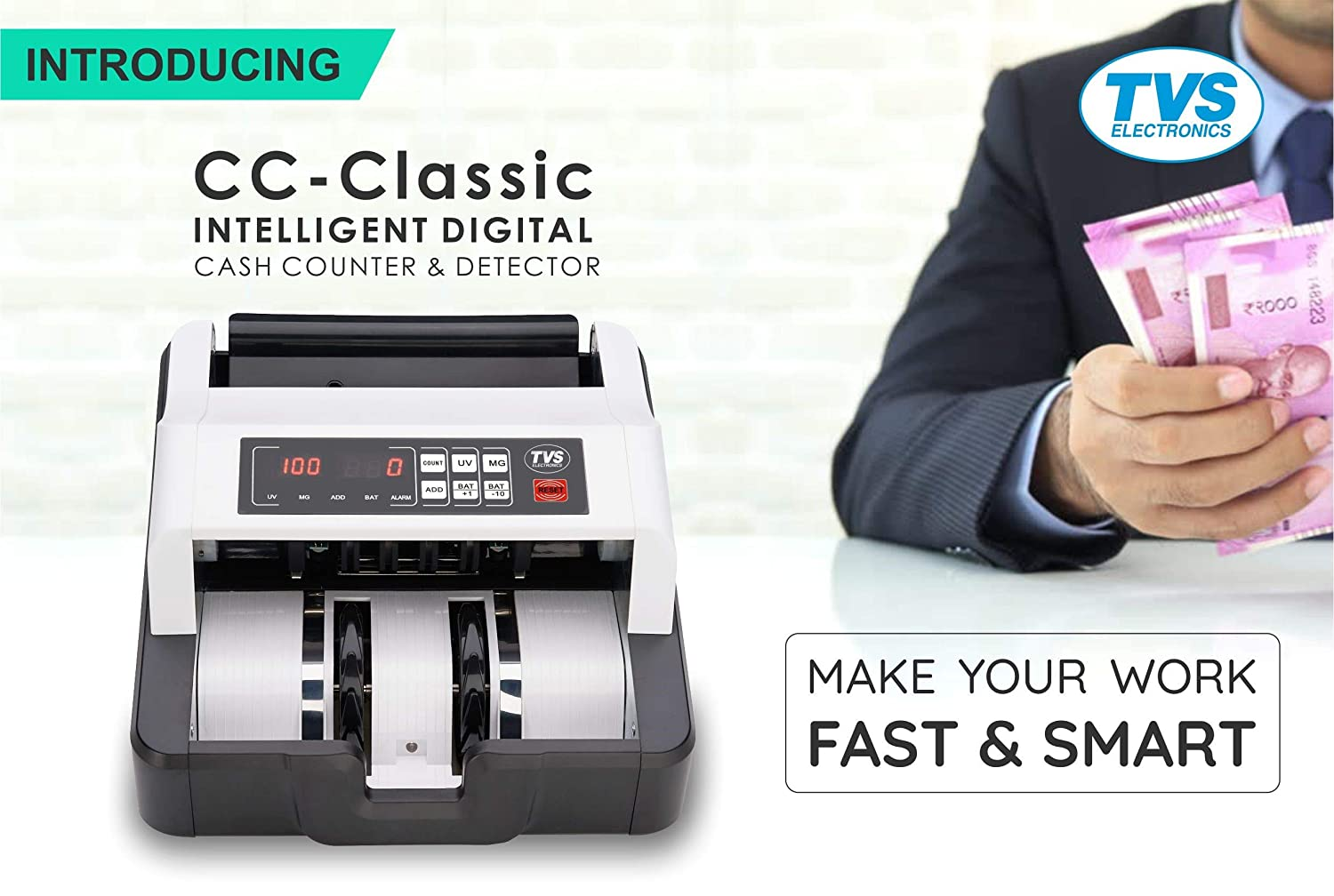 TVS CC-232 Classic Cash Counting And Fake Currency Detector Machine