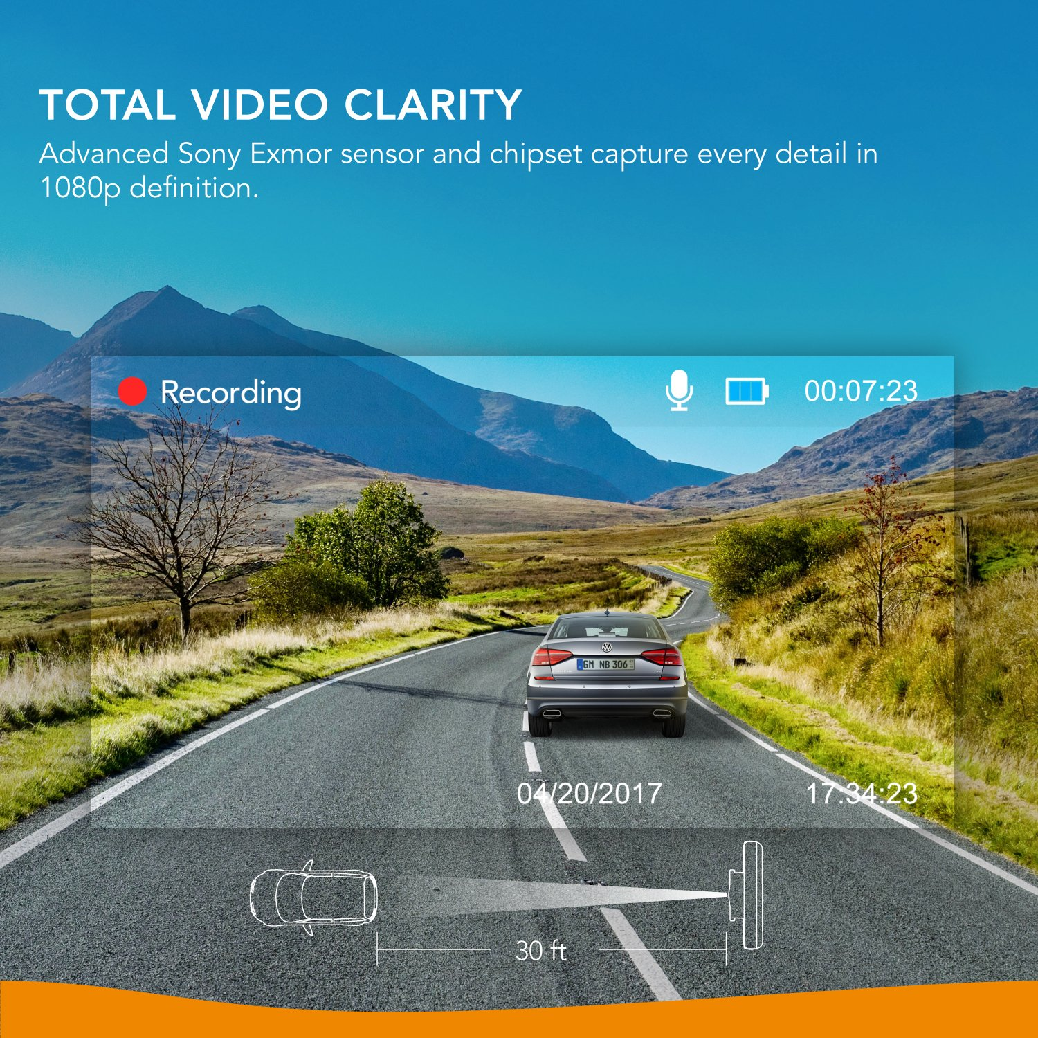 Roav Anker 1080P FHD, NightHawk Vision, WiFi, WDR, Loop Recording And Night Mode Dashboard Camera With Sony Exmor 323 Sensor (Black