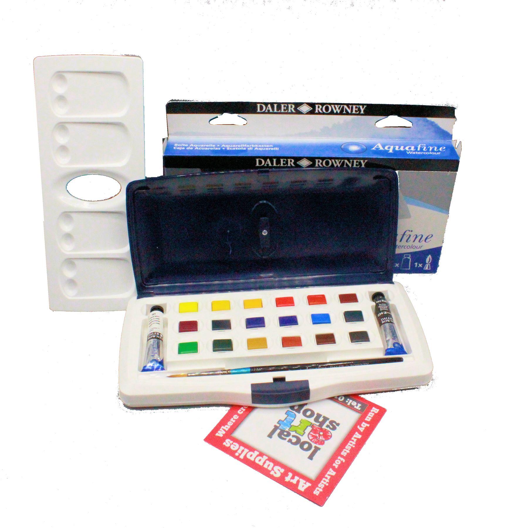 Daler Rowney Aquafine Watercolour Paint 18 Half Pan & 2 Tube X 8ml Slider Box Set