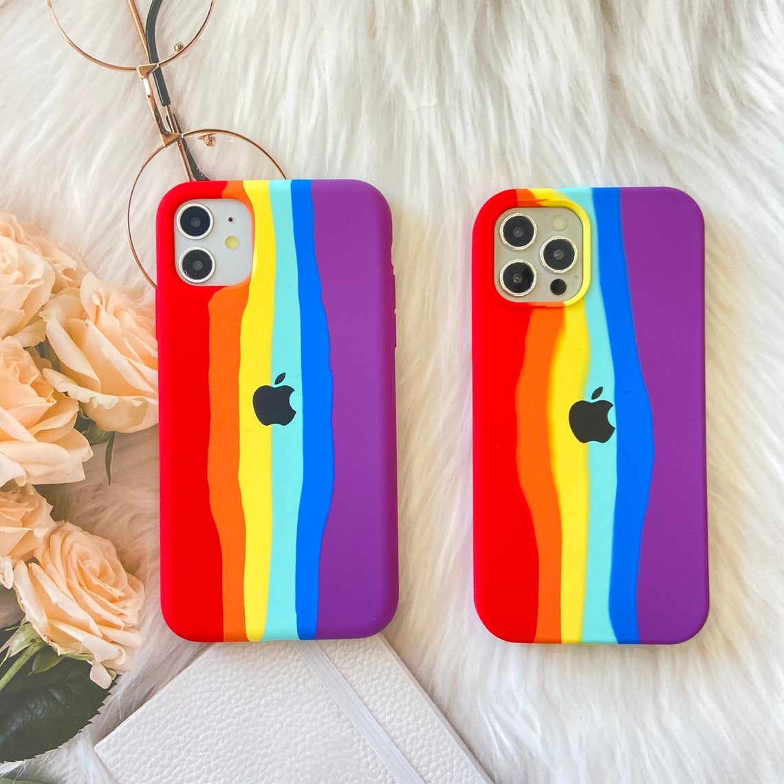 Handcrafted Creative Liquid Rainbow Silicon Cases For Apple IPhone 12 / 12 Pro / 12 Pro MAX (iPhone 12 Mini)