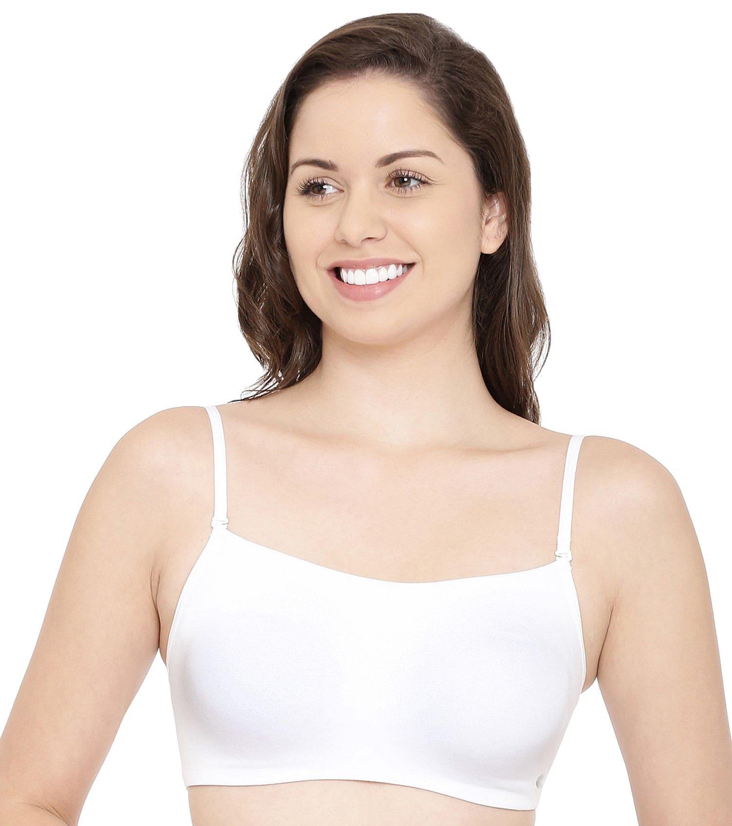 Women A022 Basic Cotton Bra (S,White)