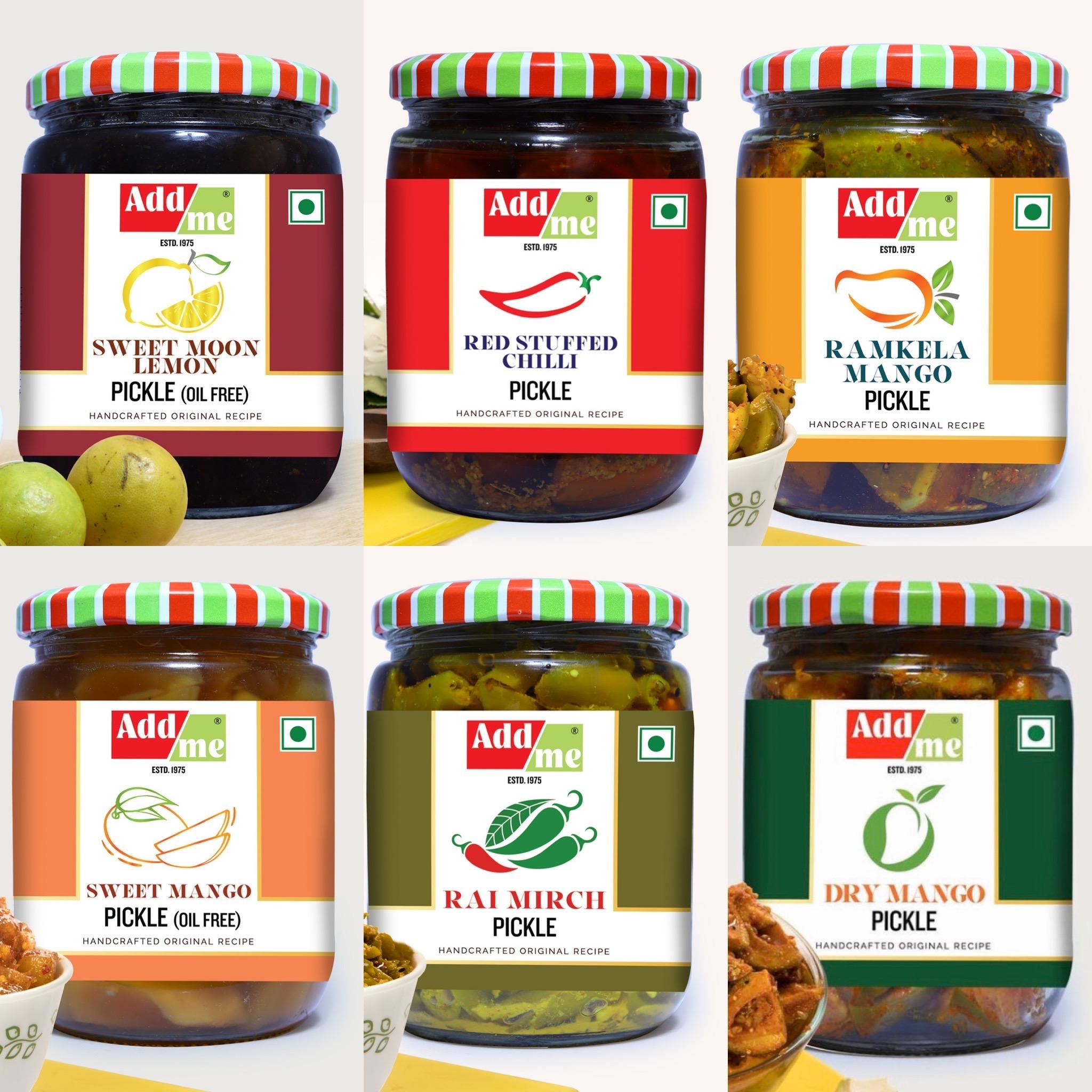 Best Seller Combo 6 In 1. Add Me Ramkela Mango Pickles 500gm Aam Ka Achar, Sweet Lime Pickles 600 Gm Nimbu Ka Achar, Green Chilli Pickles 500gm Mirch Ka Achar, Sweet Mango Pickles 600gm, Dry Mango Pickles 500gm, Red Stuffed Chilli Pickles 500gm =