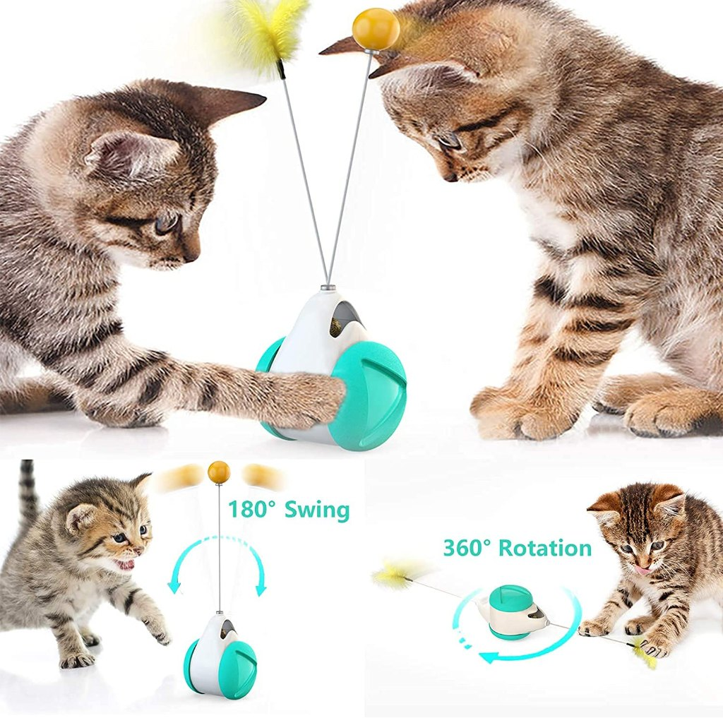 Pets Empire Interactive Cat Toys For Indoor Cats With Ball And Feather, Cat Feather Toy Automatic Self-Moving Funny Toy For Kittens Cats (Color May Vary)