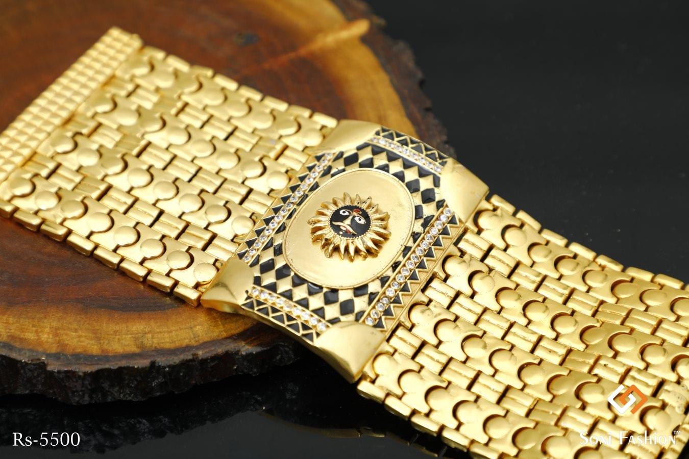 Black Sun With Black Triangle Design Golden Diamond Huge Bracelet For Men