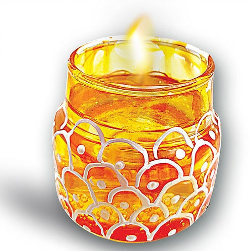 GLASS PAINTED MINI CANDLE JARS 39774
