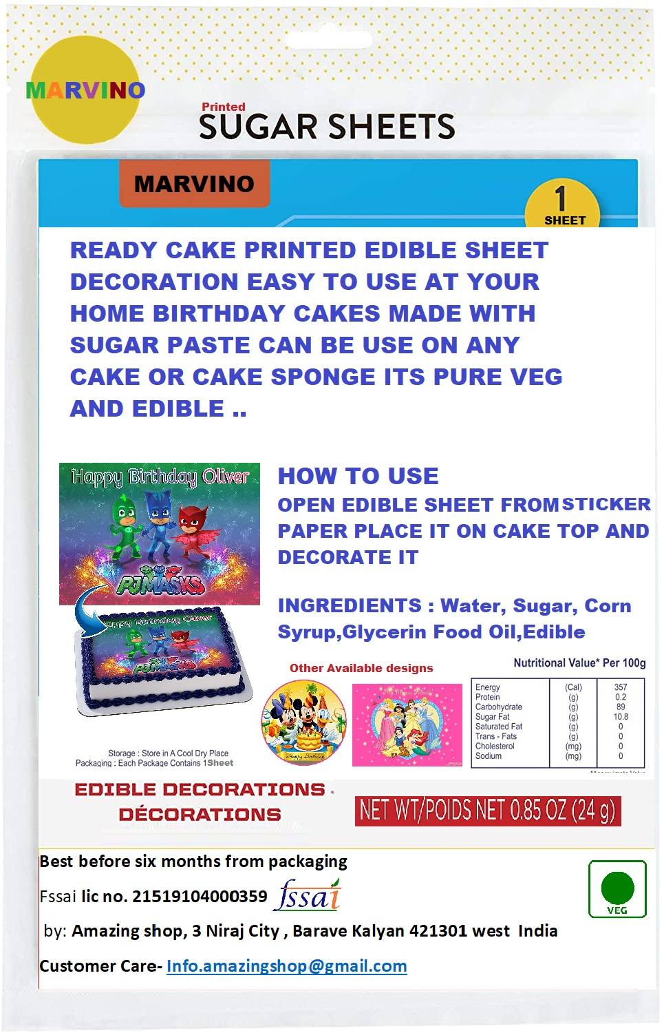 Marvino Edible Cake Topper Decorative Sheet Sugar Frosting Icing Cake Photo Decoration Ready To Use 28X20cms (Design 11)