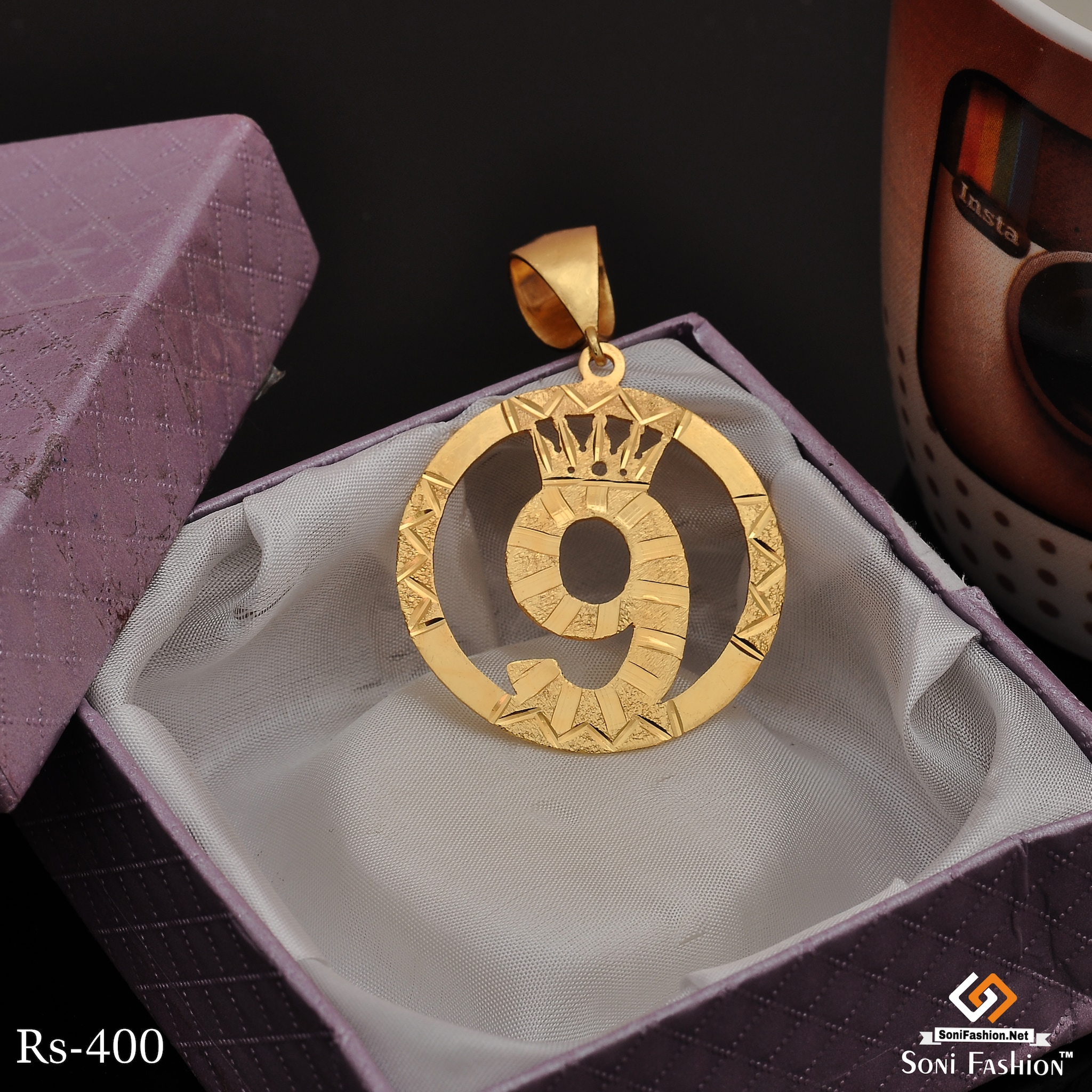 9 Number Hand Made Gold Plated Pendanat For Men