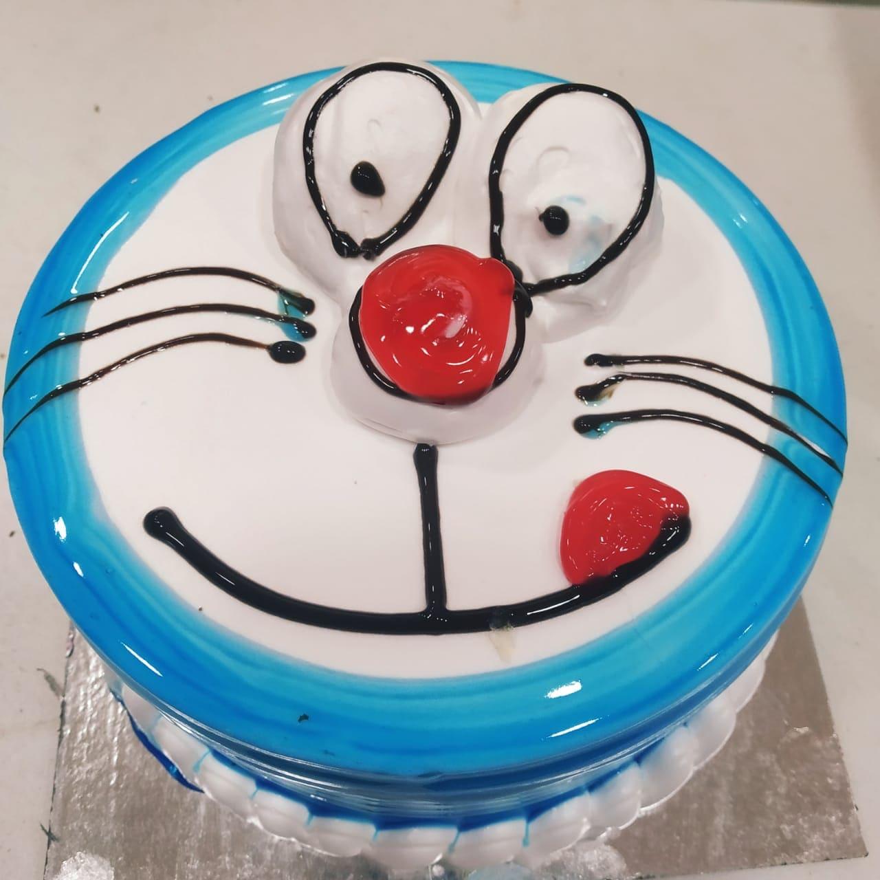 Doremon Face Cake (500 Gm,Chocolate)