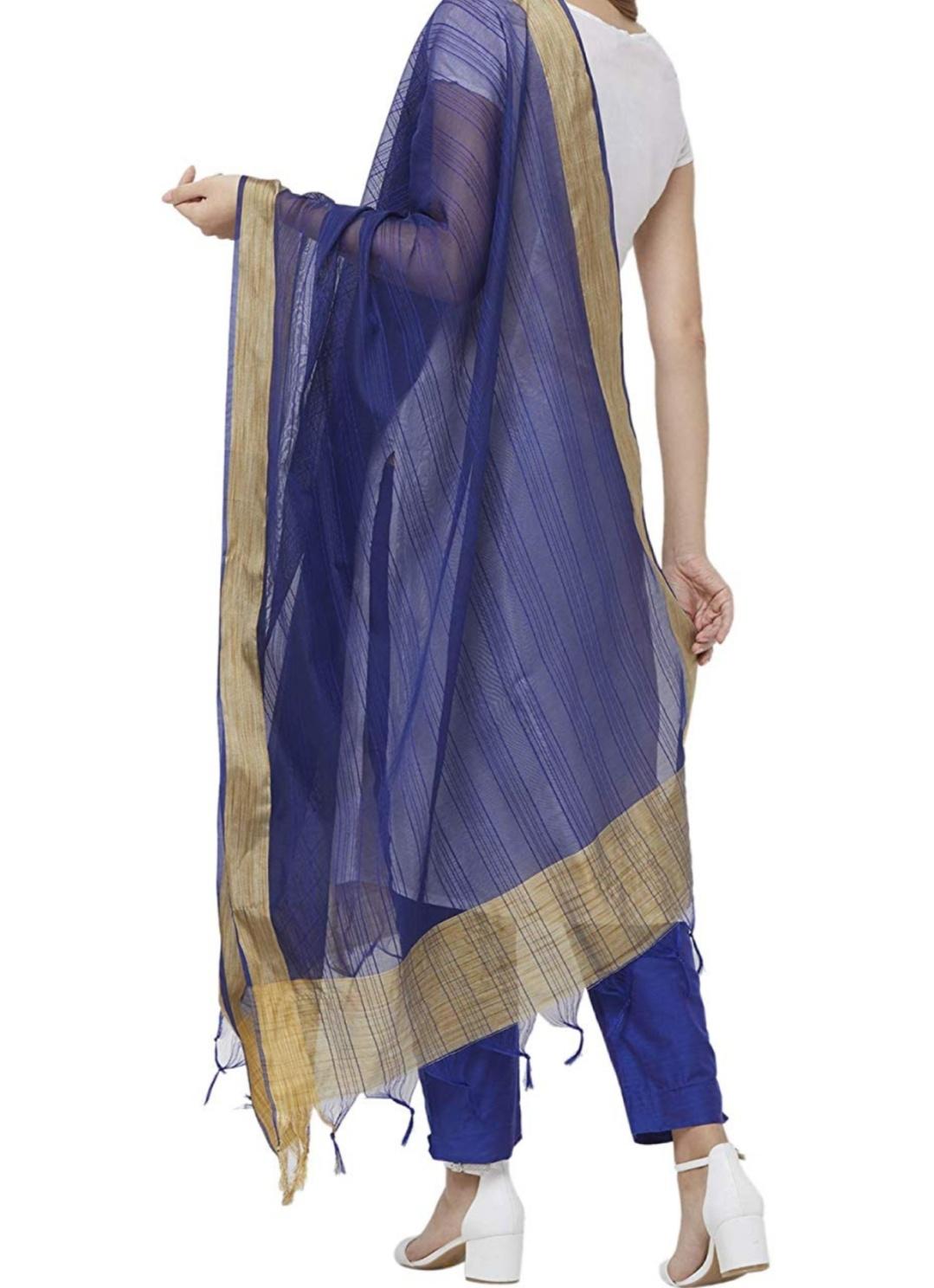 Samridhi Collections Plain Gold Borderd With Tassels Art Silk Dupatta For Women & Girls (Royal Blue)