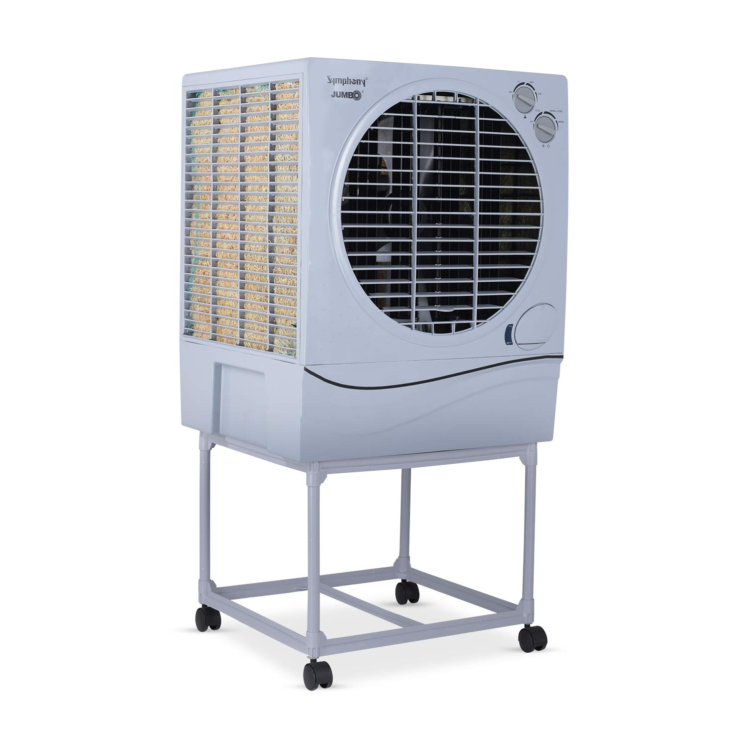 Symphony JUMBO 70 Desert Air Cooler 70-litres, With Trolley, Powerful Fan, 3-Side Cooling Pads, Whisper-quiet Performance & Low Power Consumption (Gre