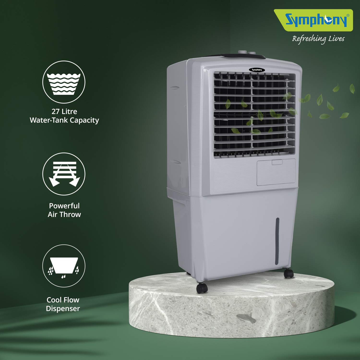 Symphony HiFlo 27 Personal Room Air Cooler 27-litres With Powerful Blower, Honeycomb Pads, Multistage Air Purification, Powerful Air Throw, Cool Flow